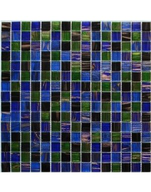 Waltz Blue and deep black Square Glass mosaic tile