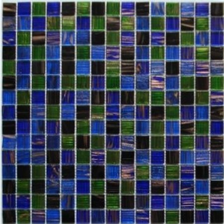 Waltz Blue and deep black Square Glass mosaic tile