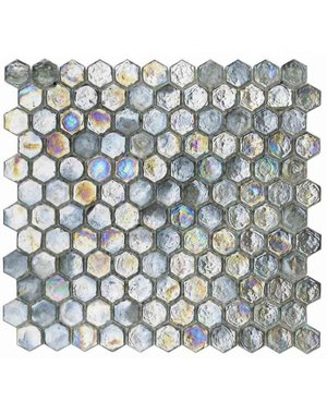Shimmering Silver grey Glass Hexagon Mosaic Tile