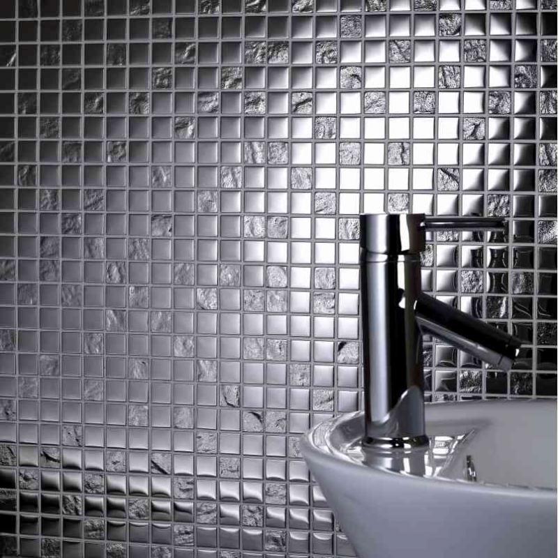Silver Chrome Gl Mosaic Tile 300 X
