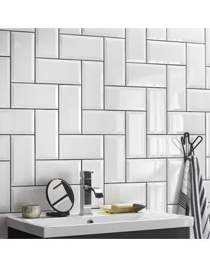 Metro White Bevel Gloss Wall Tile