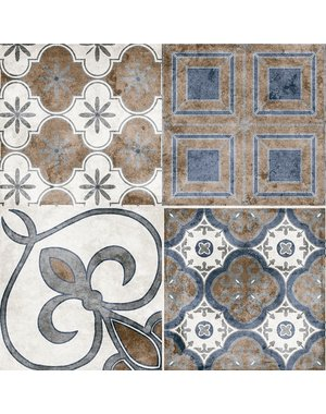 Vintage Blu Mix Pattern Tile
