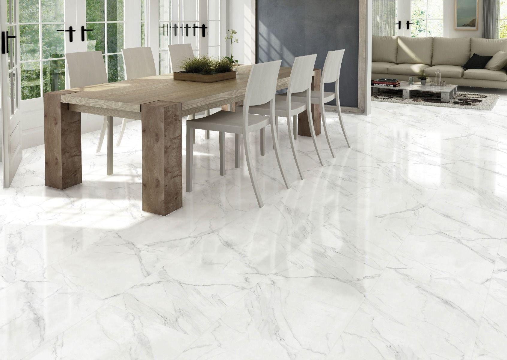 Blanco Carrara Marble Effect Gloss Ceramic Floor 450 X 450