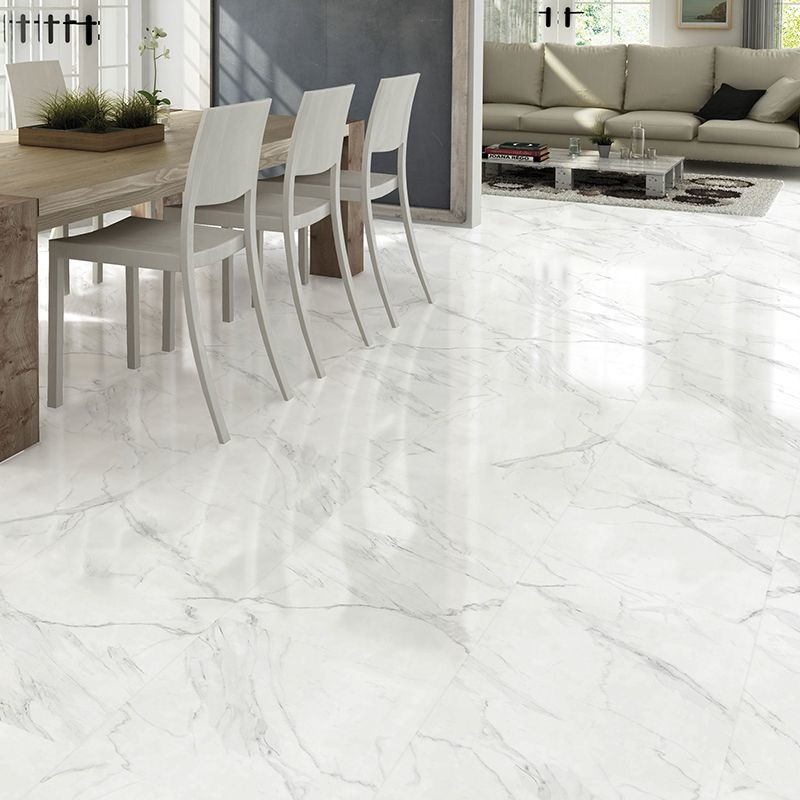 Blanco Carrara Marble Effect Gloss Ceramic Floor 450 X 450 Tile Luxury Tiles