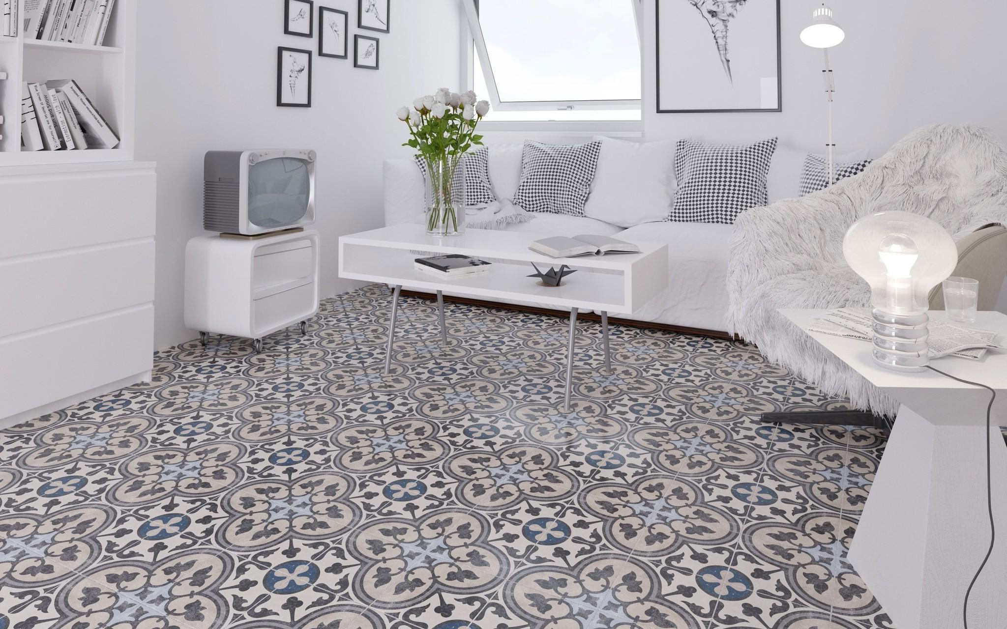 Victorian Faded Royal Pattern Floor, Victorian Floor Tiles Bathroom