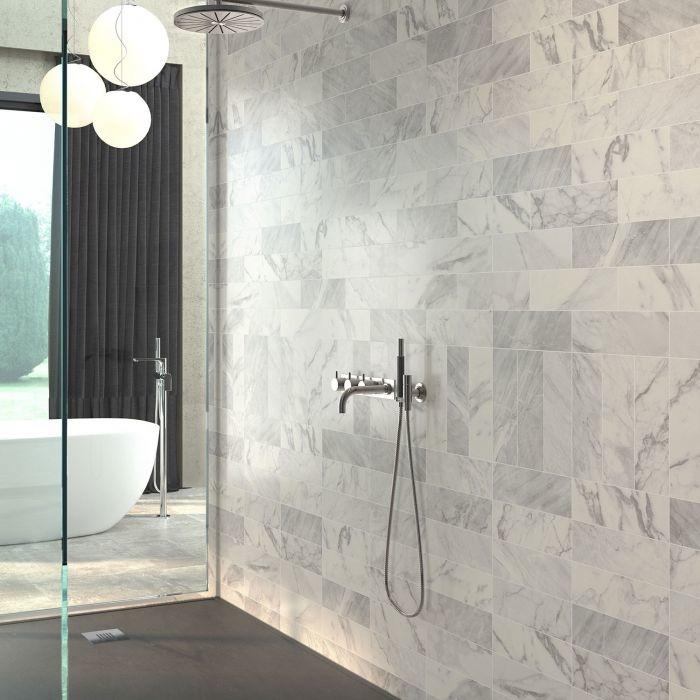 Metro Matt Marble Effect Wall Tile 10x30cm - Luxury Tiles