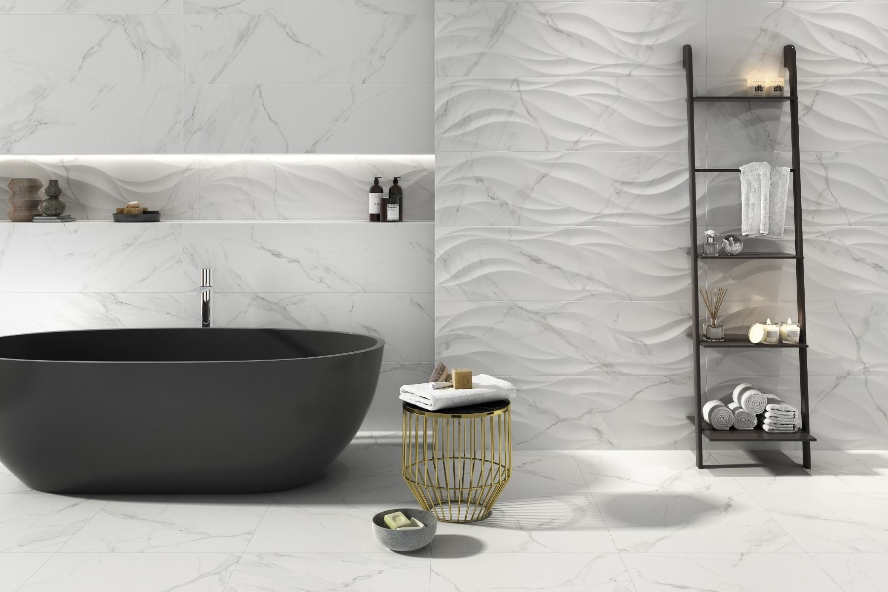 Waved Matt Marble Effect White Feature Wall Tile Luxury Tiles