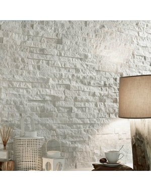 Luxury Tiles Sparkle white slate split face tile 100mm x 400mm