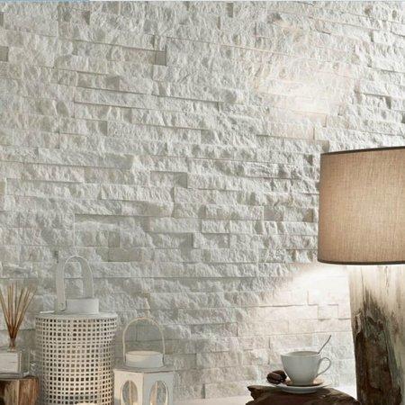 Luxury Tiles white splitface quartzite tile cladding 10x40cm