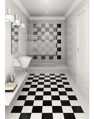 Luxury Tiles Soho Checkered square black and white floor tiles