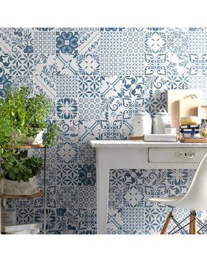 Luxury Tiles Vintage Pattern Mix Blue Azul Wall and Floor tile