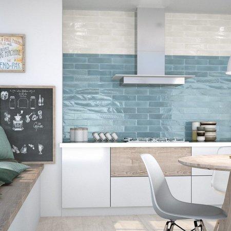 Luxury Tiles Sky Blue Gloss Metro 75x300mm Tile