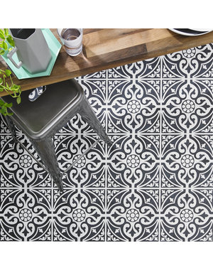 Luxury Tiles Kingsbridge Black Patterned Wall & Floor Tiles  33cm x 33cm
