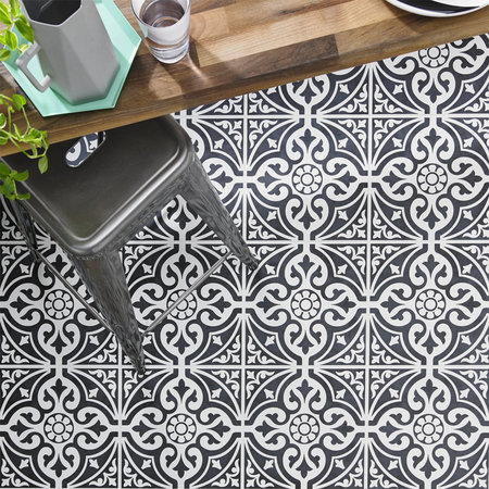 Luxury Tiles Kingsbridge Black Patterned Wall and Floor Tiles - 330 x 330mm
