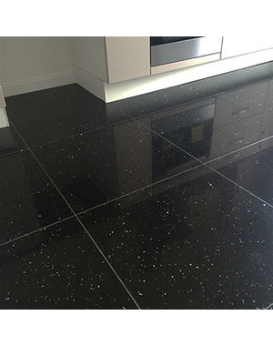Luxury Tiles Shimmer Night Black Sparkling Quartz Tile
