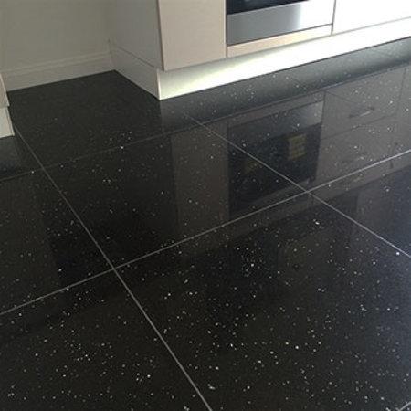 Luxury Tiles Shimmer Night Black Sparkling Quartz Tile