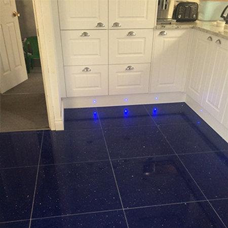 Luxury Tiles Shimmer Blue Sapphire Sparkling Stardust Quartz Tile