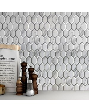 Luxury Tiles Carrara Grey Marble Effect Glass Mosaic Tile