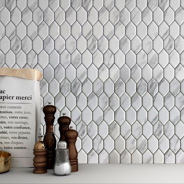 Carrara Grey Marble Effect Gl Mosaic