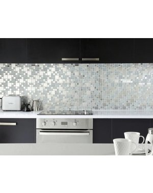 Luxury Tiles Silver Shine Glass and Metal Mosaic Tile