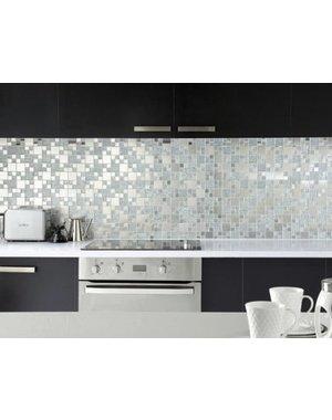 Luxury Tiles Silver Shine Glass and Metal Mosaic Tile