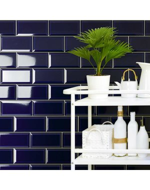 Luxury Tiles Piccadilly Blue Bevelled  Metro Tile