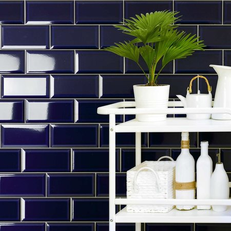 Luxury Tiles Piccadilly Blue Bevelled Metro Brick 10 x 20 cm Tile