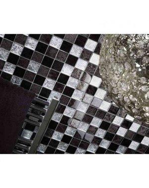 Luxury Tiles Black & Silver Crackle Glass Mosaic Tile 30 X 30cm