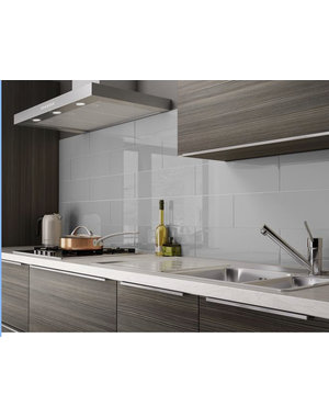 British Ceramic Tiles FUNCTION LIGHT GREY GLOSS CERAMIC WALL TILE 15 x50cm