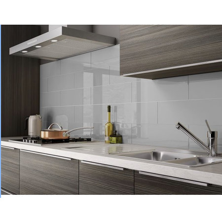 British Ceramic Tiles FUNCTION LIGHT GREY GLOSS CERAMIC WALL TILE 152x500mm BCT26914