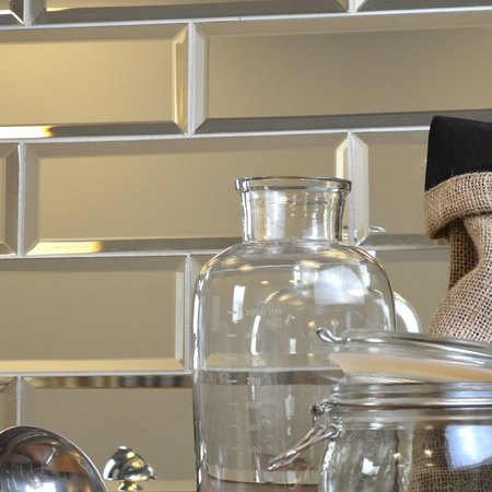 Luxury Tiles Bevelled Silver Mirror Glass 200x70mm Tiles
