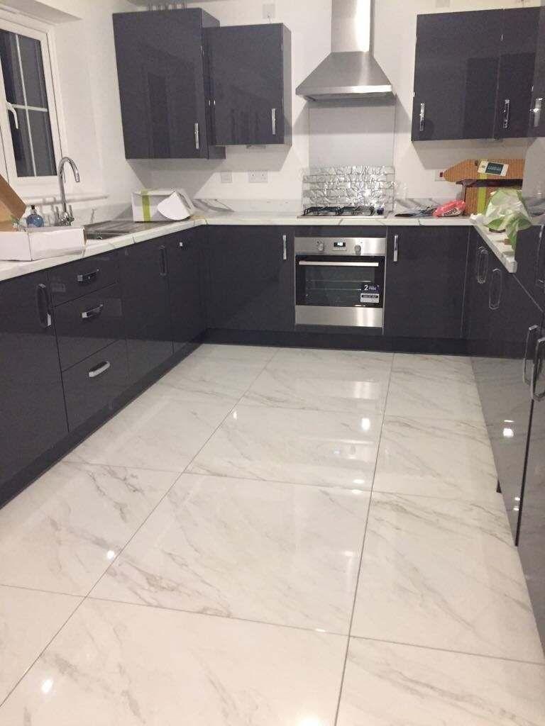 Luxury Tiles Carrara Marble effect floor 9x9mm tile