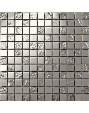 Luxury Tiles Shimmer Silver glass and stainless steel mosaic tile