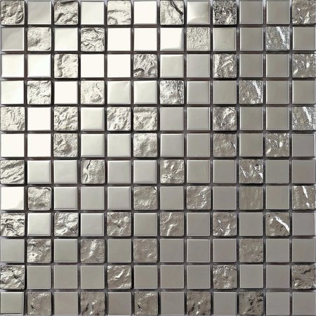 Luxury Tiles Shimmer Silver glass and stainless steel mosaic tile 300x300mm