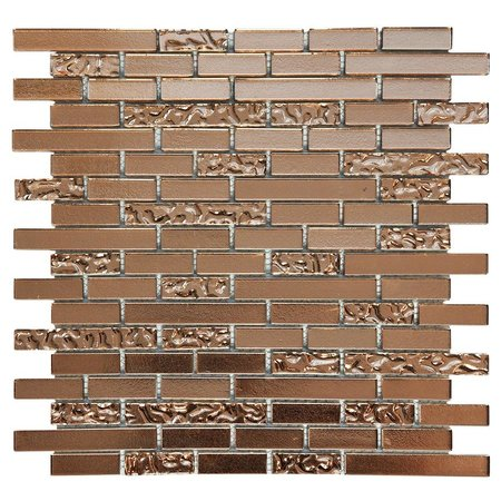 Luxury Tiles Frosted Red Brick Glass Mosaic 300x300mm tile