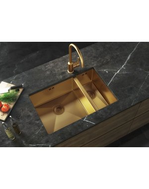Luxury Tiles Midas Gold Undermount Kitchen Sink with base