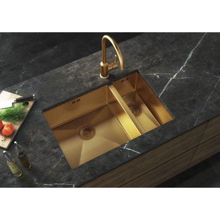 Luxury Tiles Midas Gold Undermount/Inset 1.5L Kitchen bowl Sink with base