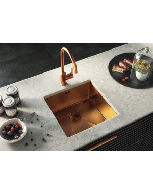 Luxury Tiles Midas Lalot Copper Undermount Kitchen sink with waste 440x440mm