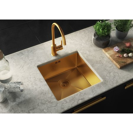 Luxury Tiles Midas Lalot Gold Undermount Kitchen sink with waste