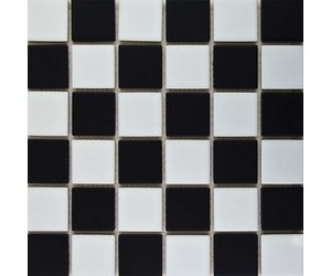 Black And White Checkered Mosaic Tile