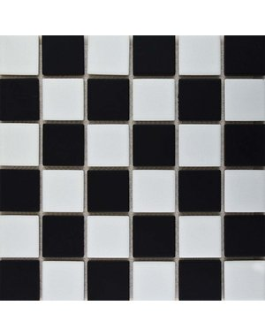 Luxury Tiles Black and White Checkered Mosaic Tile