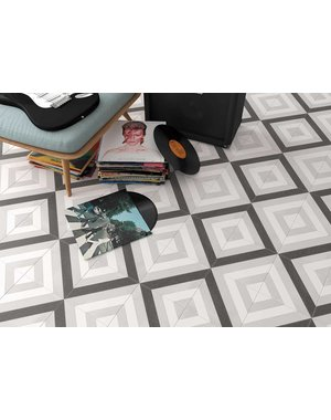 Luxury Tiles Scarlet Black and White Lined Diamond Floor and Wall Tile