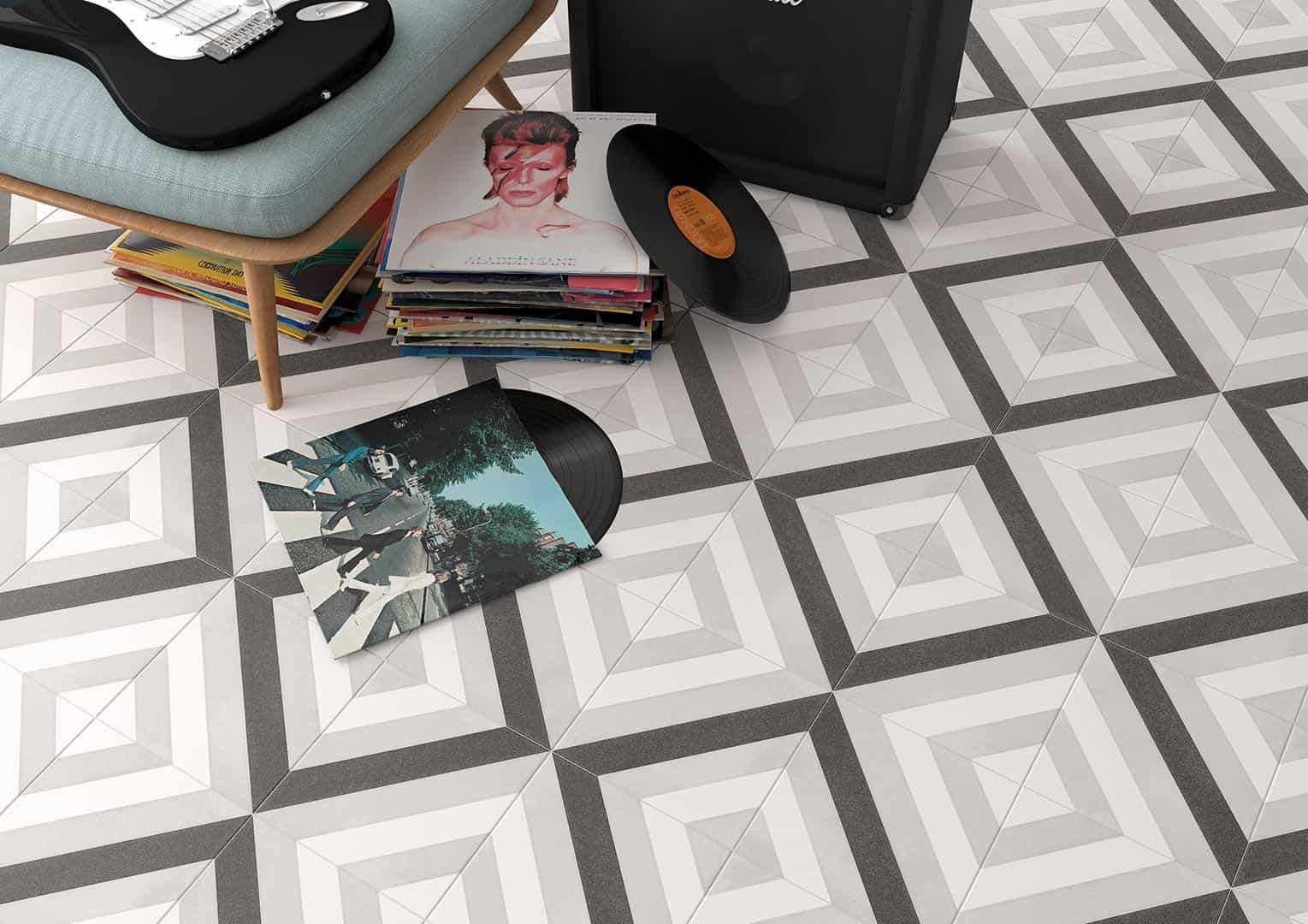 White Lined Diamond Floor And Wall Tile