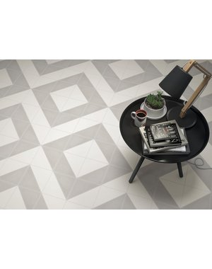 Luxury Tiles Aspen Light Grey and White Triangle Porcelain Tile