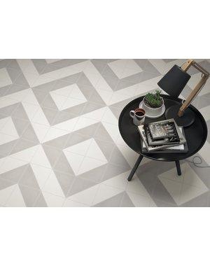Luxury Tiles Aspen Light Grey and White Triangle Porcelain Tile
