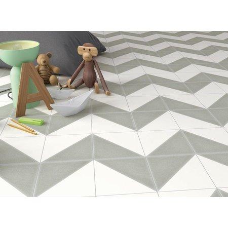 Luxury Tiles Aspen Dark Grey and White Triangle Porcelain 200x200 Tile