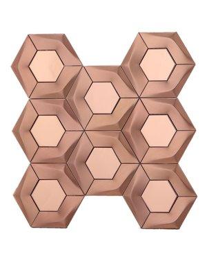 Luxury Tiles Brushed Copper Hexagon Mosaic Tile