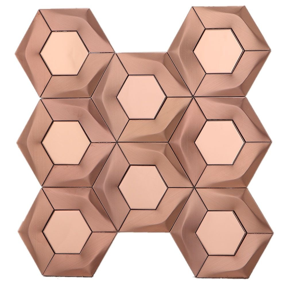 Brushed Copper Hexagon Mosaic Tile