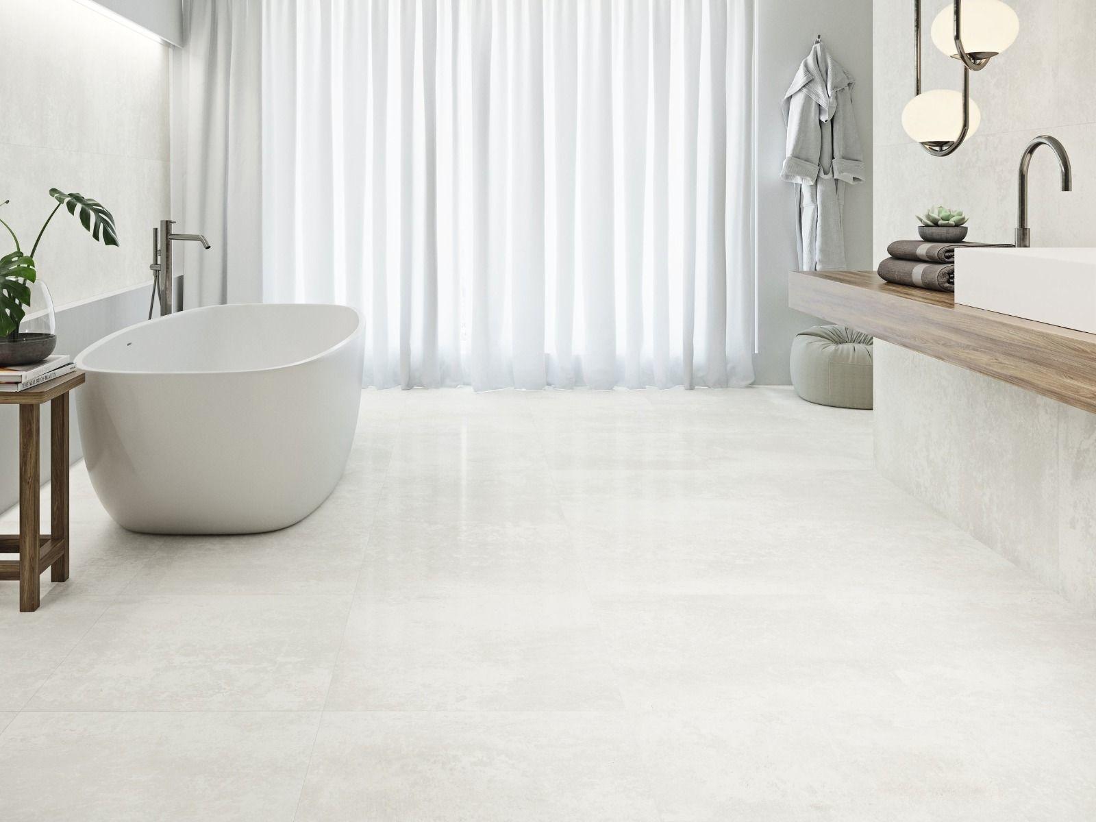 Burghley Stone Washed White Porcelain, White Stone Tile Bathroom