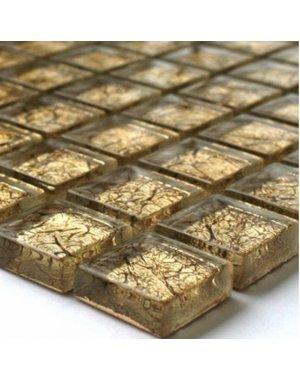 Luxury Tiles Alexandra Gold Glass Mosaic Tile 300x300mm